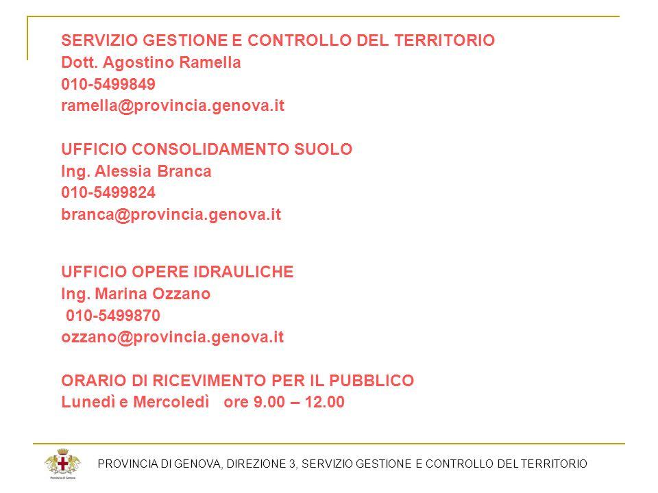 SERVIZIO GESTIONE E CONTROLLO DEL TERRITORIO Dott. Agostino Ramella 010-5499849 ramella@provincia.genova.it UFFICIO CONSOLIDAMENTO SUOLO Ing. Alessia