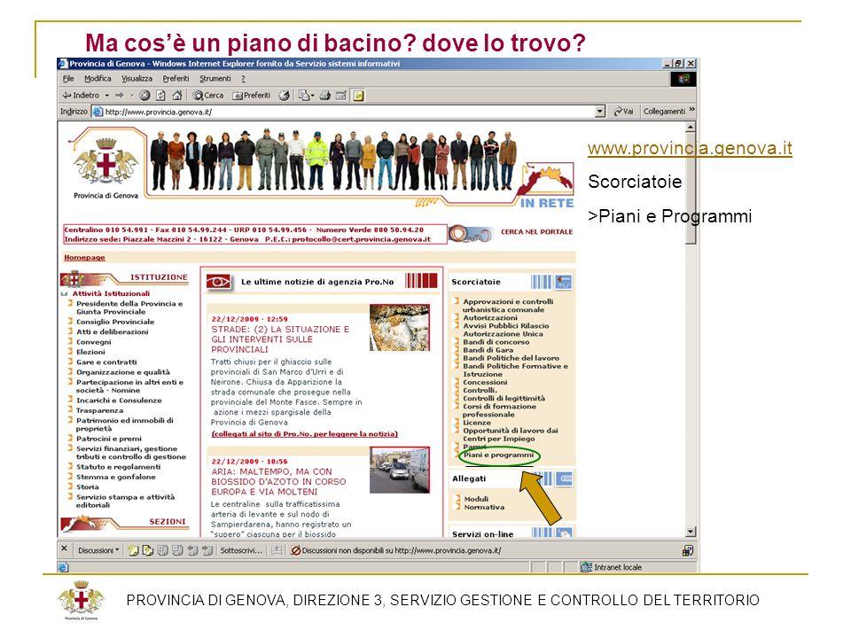 PROVINCIA DI GENOVA, DIREZIONE 3, SERVIZIO GESTIONE E CONTROLLO DEL TERRITORIO Ma cosè un piano di bacino? dove lo trovo? www.provincia.genova.it Scor