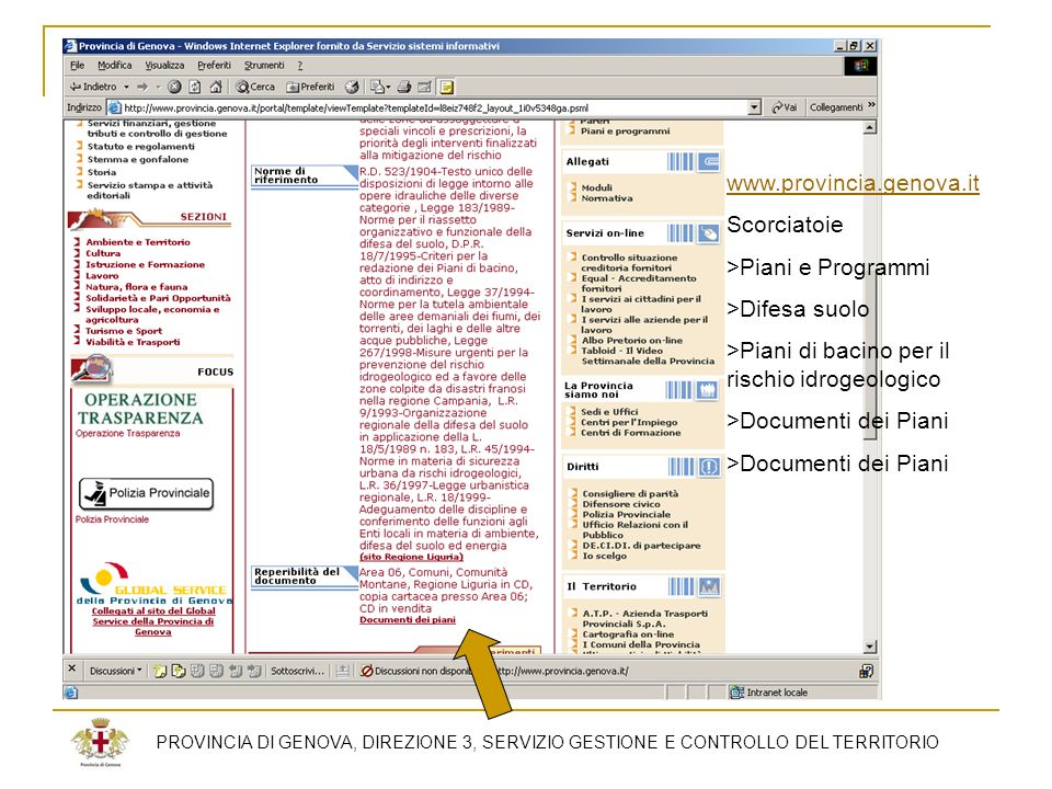 PROVINCIA DI GENOVA, DIREZIONE 3, SERVIZIO GESTIONE E CONTROLLO DEL TERRITORIO www.provincia.genova.it Scorciatoie >Piani e Programmi >Difesa suolo >P