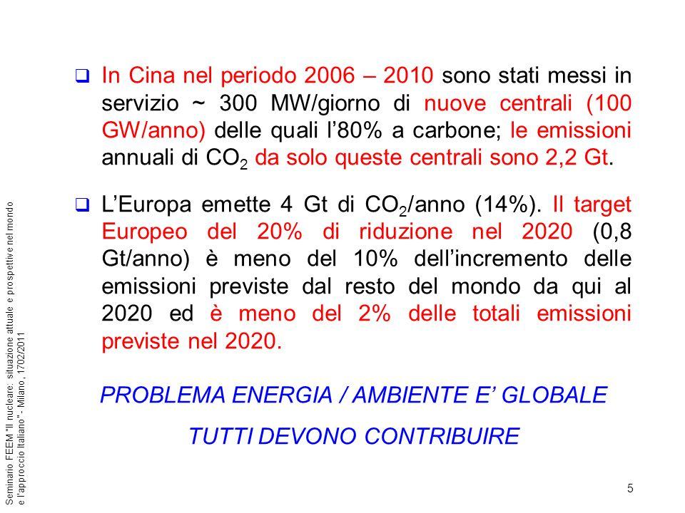 36 Seminario FEEM Il nucleare: situazione attuale e prospettive nel mondo e lapproccio Italiano - Milano, 1702/2011 La Cina prevede in servizio per il 2030 circa 180.000 MW di nucleare, lIndia 21.000 MW nel 2020 e 63.000 nel 2030, il Giappone ha confermato di mantenere anche oltre il 2030 una quota del nucleare fra il 30 e 40% con 13 nuovi reattori pianificati, la Corea del Sud ha in programma altri 8000 MW oltre agli attuali 8000 MW in costruzione.