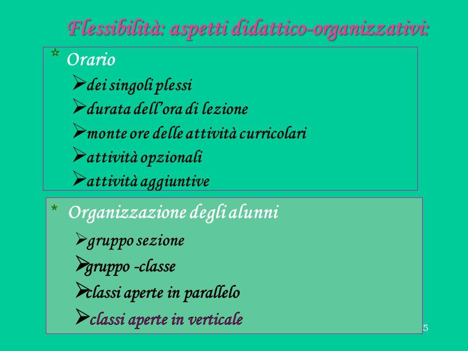 15 Flessibilità: aspetti didattico-organizzativi: * Orario dei singoli plessi durata dellora di lezione monte ore delle attività curricolari attività opzionali attività aggiuntive