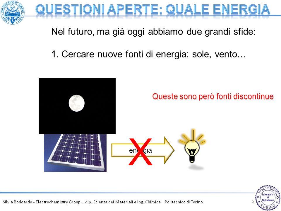 5 energia X Nel futuro, ma già oggi abbiamo due grandi sfide: 1. Cercare nuove fonti di energia: sole, vento… Queste sono però fonti discontinue