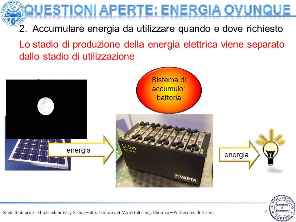 6 energia Sistema di accumulo: batteria 2. Accumulare energia da utilizzare quando e dove richiesto Lo stadio di produzione della energia elettrica vi