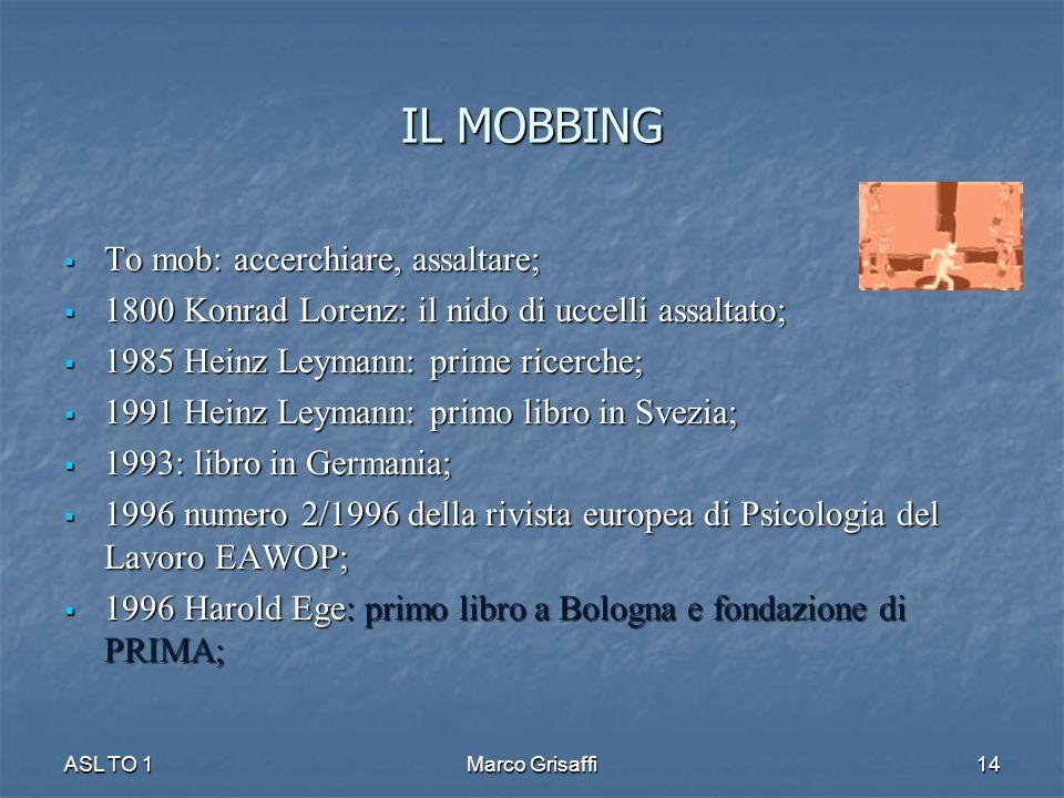 IL MOBBING To mob: accerchiare, assaltare; To mob: accerchiare, assaltare; 1800 Konrad Lorenz: il nido di uccelli assaltato; 1800 Konrad Lorenz: il ni