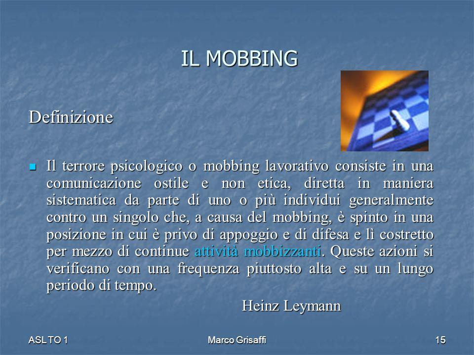 IL MOBBING Definizione Il terrore psicologico o mobbing lavorativo consiste in una comunicazione ostile e non etica, diretta in maniera sistematica da