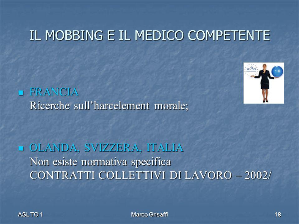 IL MOBBING E IL MEDICO COMPETENTE FRANCIA FRANCIA Ricerche sullharcelement morale; Ricerche sullharcelement morale; OLANDA, SVIZZERA, ITALIA OLANDA, SVIZZERA, ITALIA Non esiste normativa specifica Non esiste normativa specifica CONTRATTI COLLETTIVI DI LAVORO – 2002/ CONTRATTI COLLETTIVI DI LAVORO – 2002/ ASL TO 1Marco Grisaffi18