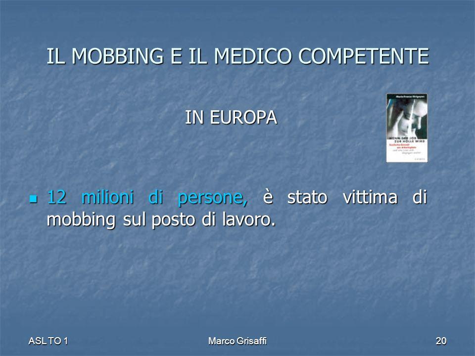 IL MOBBING E IL MEDICO COMPETENTE IN EUROPA IN EUROPA 12 milioni di persone, è stato vittima di mobbing sul posto di lavoro.