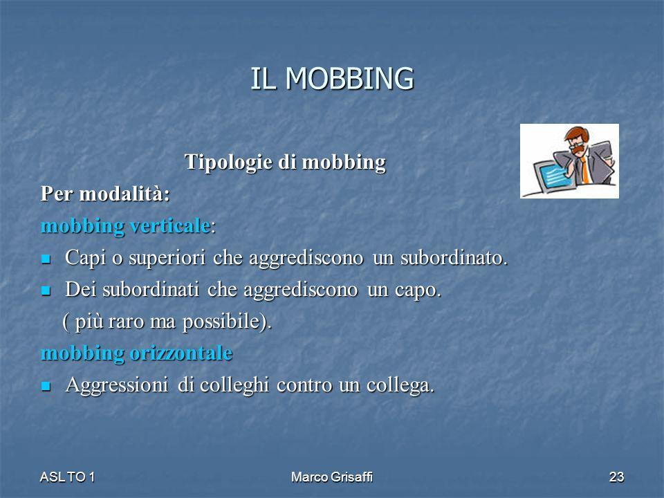 IL MOBBING Tipologie di mobbing Per modalità: mobbing verticale: Capi o superiori che aggrediscono un subordinato. Capi o superiori che aggrediscono u