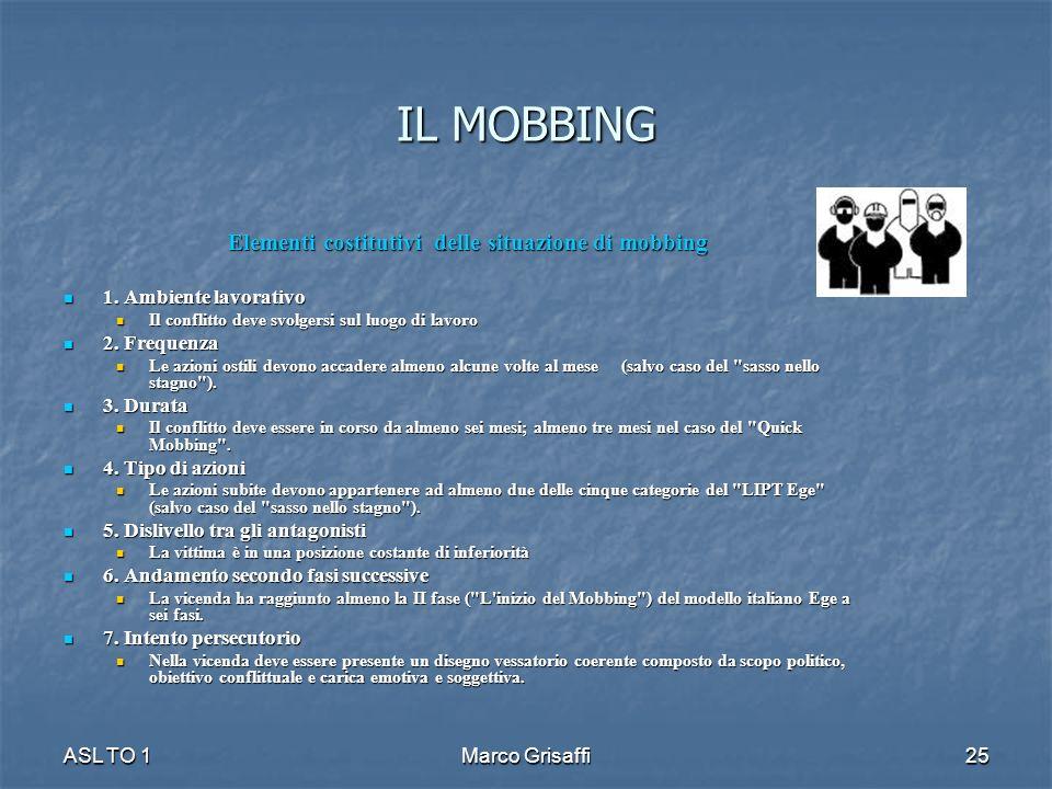 IL MOBBING Elementi costitutivi delle situazione di mobbing 1. Ambiente lavorativo 1. Ambiente lavorativo Il conflitto deve svolgersi sul luogo di lav