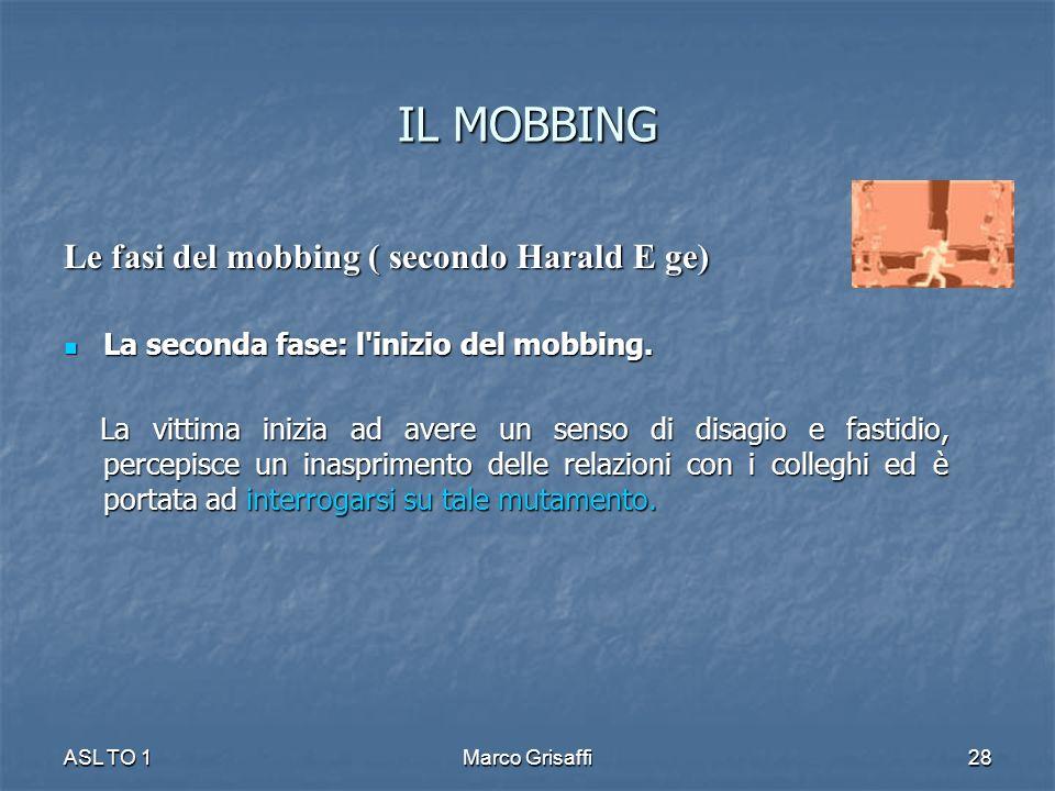 IL MOBBING Le fasi del mobbing ( secondo Harald E ge) La seconda fase: l'inizio del mobbing. La seconda fase: l'inizio del mobbing. La vittima inizia