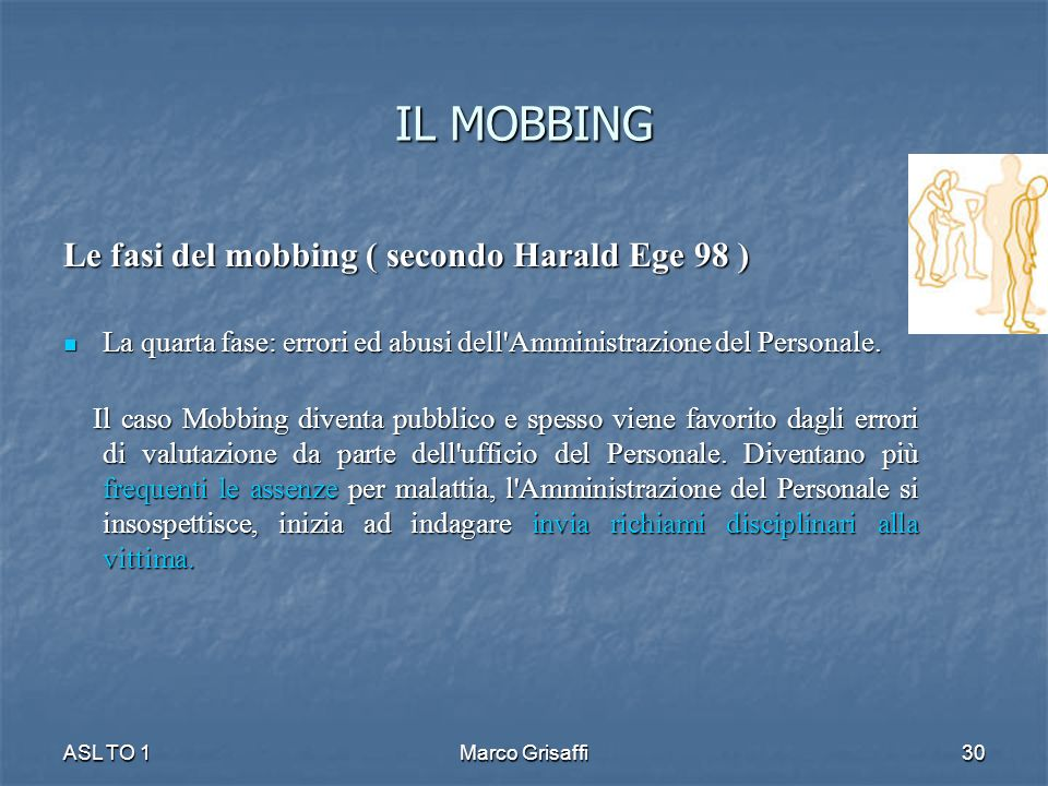IL MOBBING Le fasi del mobbing ( secondo Harald Ege 98 ) La quarta fase: errori ed abusi dell'Amministrazione del Personale. La quarta fase: errori ed