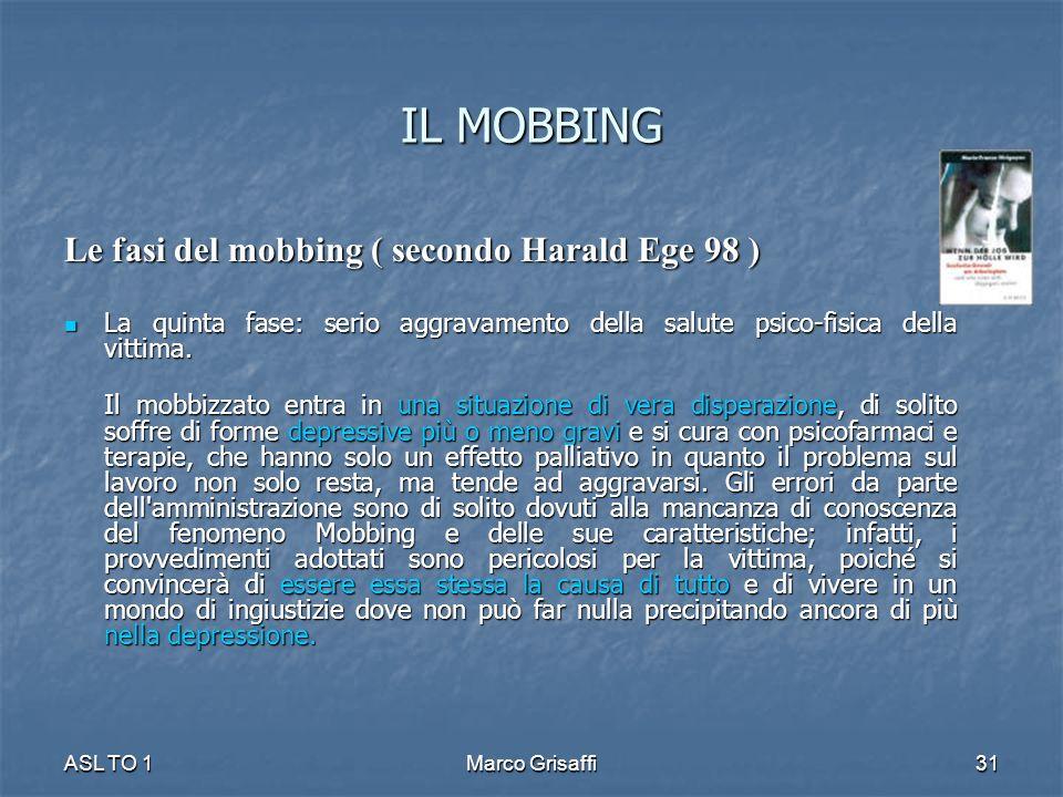 IL MOBBING Le fasi del mobbing ( secondo Harald Ege 98 ) La quinta fase: serio aggravamento della salute psico-fisica della vittima. La quinta fase: s
