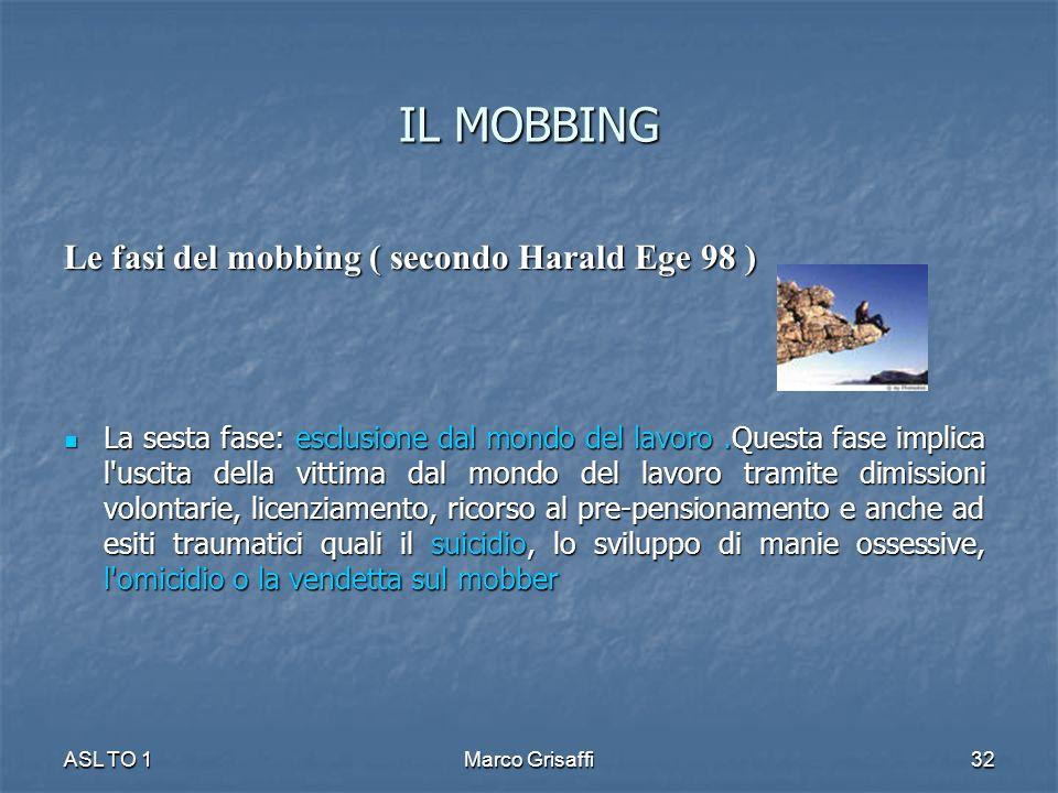 IL MOBBING Le fasi del mobbing ( secondo Harald Ege 98 ) La sesta fase: esclusione dal mondo del lavoro.Questa fase implica l'uscita della vittima dal