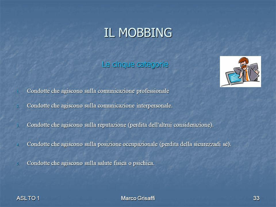 IL MOBBING Le cinque categorie 1. Condotte che agiscono sulla comunicazione professionale 2. Condotte che agiscono sulla comunicazione interpersonale.