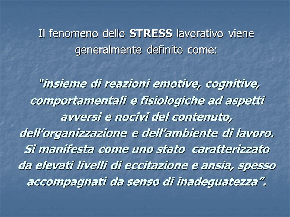 Il fenomeno dello STRESS lavorativo viene generalmente definito come: insieme di reazioni emotive, cognitive, comportamentali e fisiologiche ad aspetti avversi e nocivi del contenuto, dellorganizzazione e dellambiente di lavoro.