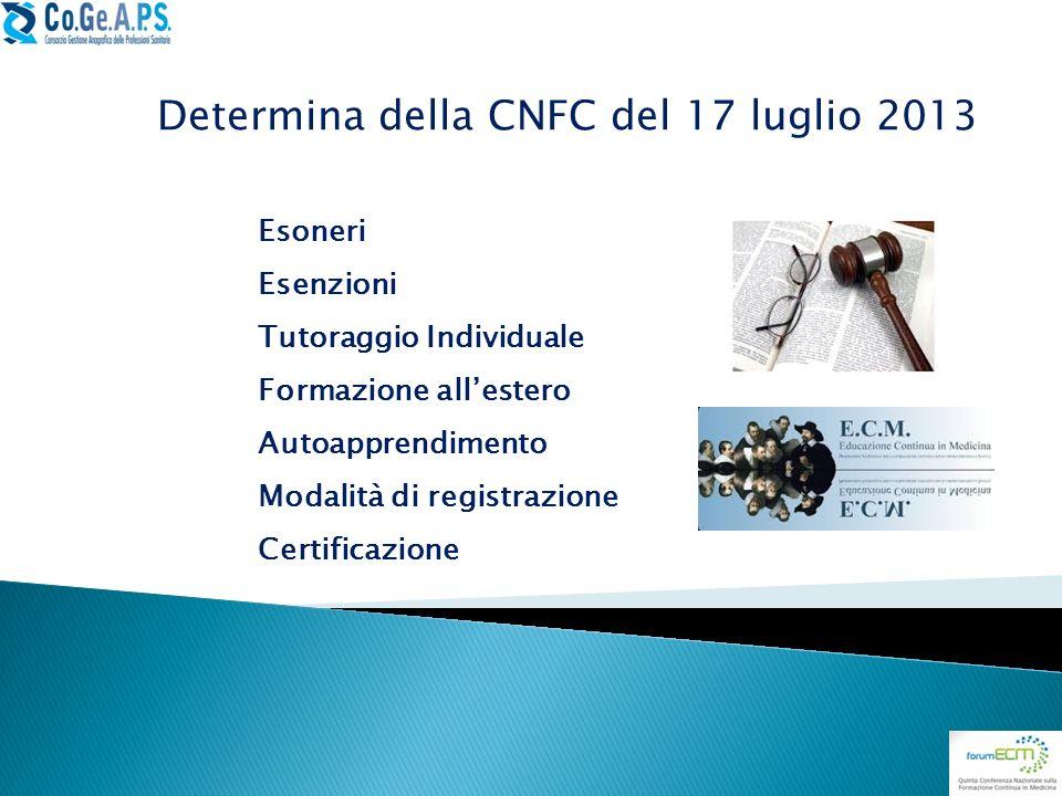 Determina della CNFC del 17 luglio 2013 Esoneri Esenzioni Tutoraggio Individuale Formazione allestero Autoapprendimento Modalità di registrazione Cert