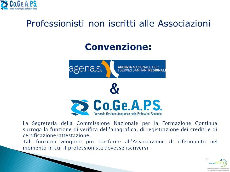 Professionisti non iscritti alle Associazioni Convenzione: & La Segreteria della Commissione Nazionale per la Formazione Continua surroga la funzione