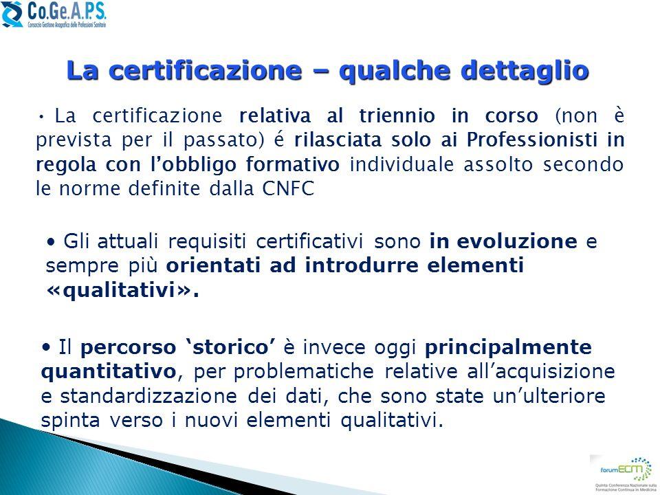 La certificazione relativa al triennio in corso (non è prevista per il passato) é rilasciata solo ai Professionisti in regola con lobbligo formativo i