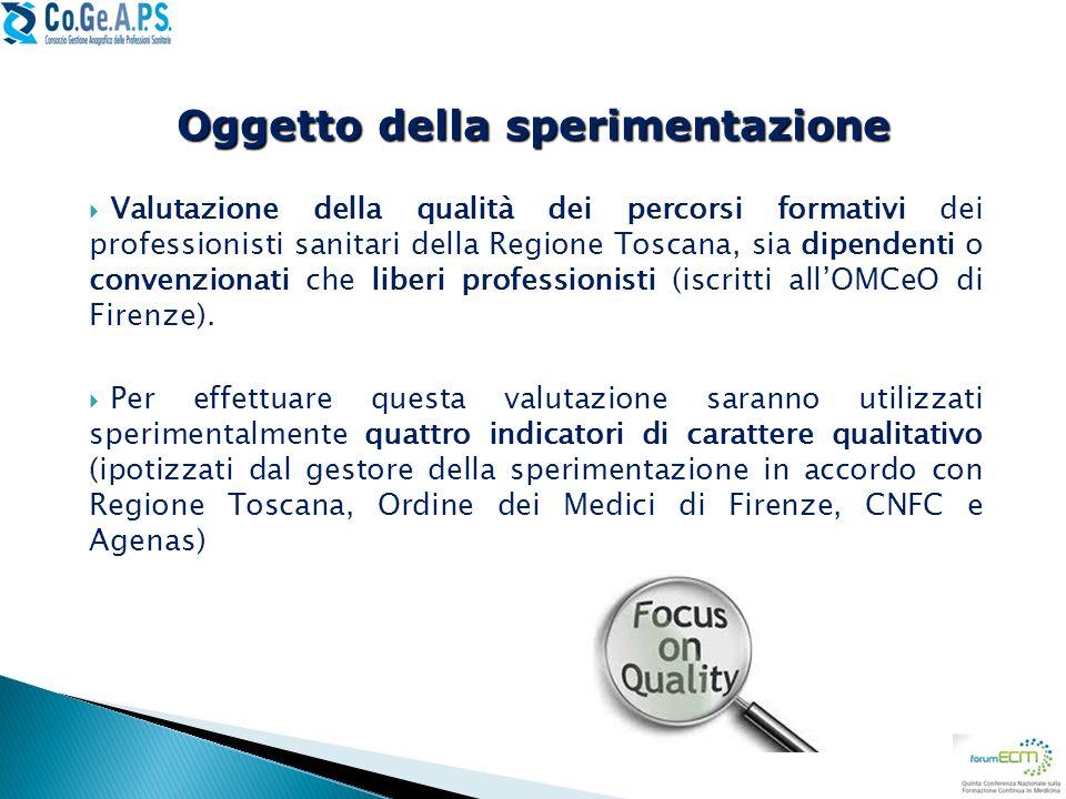 Valutazione della qualità dei percorsi formativi dei professionisti sanitari della Regione Toscana, sia dipendenti o convenzionati che liberi professi