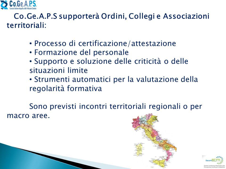 Co.Ge.A.P.S supporterà Ordini, Collegi e Associazioni territoriali: Processo di certificazione/attestazione Formazione del personale Supporto e soluzi