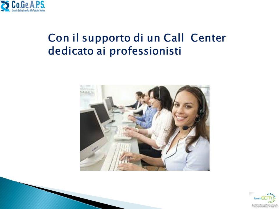 Con il supporto di un Call Center dedicato ai professionisti