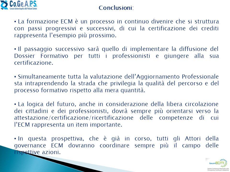 Conclusioni: La formazione ECM è un processo in continuo divenire che si struttura con passi progressivi e successivi, di cui la certificazione dei cr