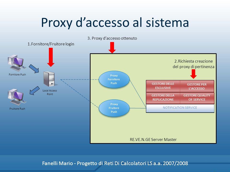 Proxy daccesso al sistema Fanelli Mario - Progetto di Reti Di Calcolatori LS a.a. 2007/2008 NOTIFICATION SERVICE GESTORE DELLA REPLICAZIONE GESTORE QU