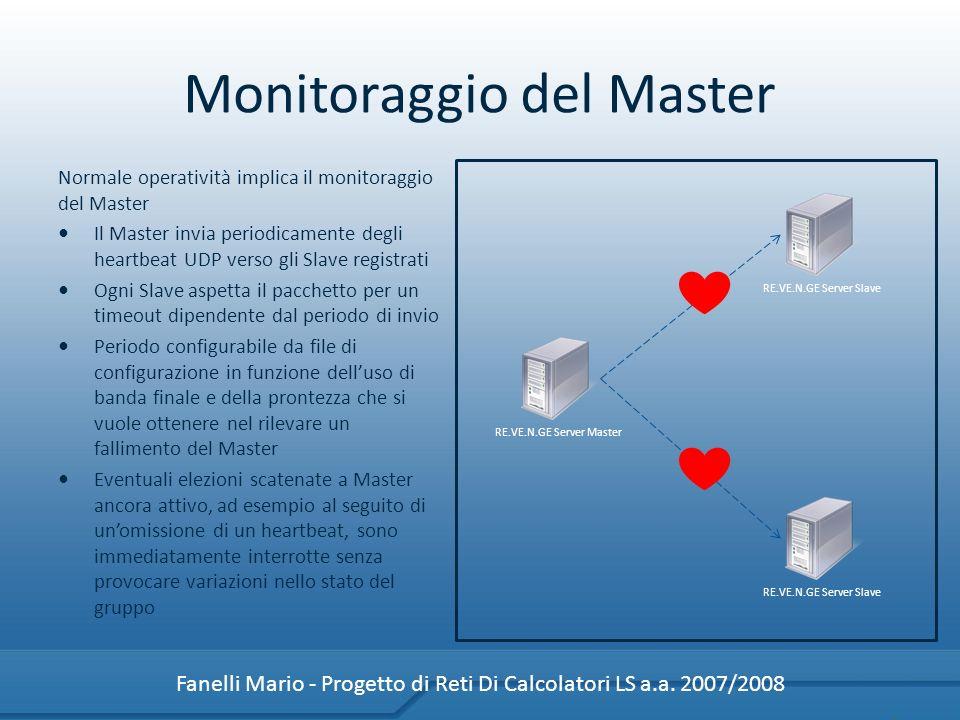 Monitoraggio del Master Normale operatività implica il monitoraggio del Master Il Master invia periodicamente degli heartbeat UDP verso gli Slave regi