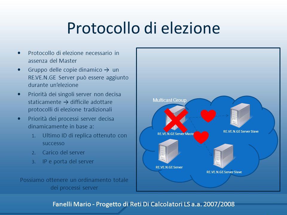 Protocollo di elezione necessario in assenza del Master Gruppo delle copie dinamico un RE.VE.N.GE Server può essere aggiunto durante unelezione Priorità dei singoli server non decisa staticamente difficile adottare protocolli di elezione tradizionali Priorità dei processi server decisa dinamicamente in base a: 1.