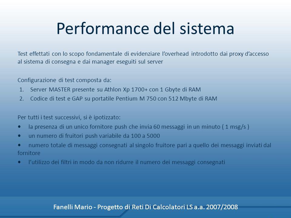 Performance del sistema Fanelli Mario - Progetto di Reti Di Calcolatori LS a.a. 2007/2008 Test effettati con lo scopo fondamentale di evidenziare love