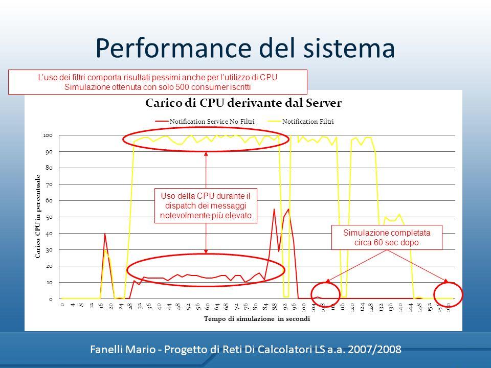Performance del sistema Fanelli Mario - Progetto di Reti Di Calcolatori LS a.a. 2007/2008 Luso dei filtri comporta risultati pessimi anche per lutiliz