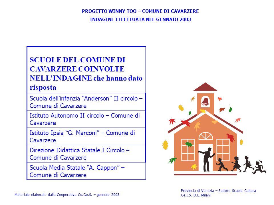 Provincia di Venezia – Settore Scuole Cultura Ce.I.S. D.L. Milani PROGETTO WINNY TOO – COMUNE DI CAVARZERE INDAGINE EFFETTUATA NEL GENNAIO 2003 SCUOLE