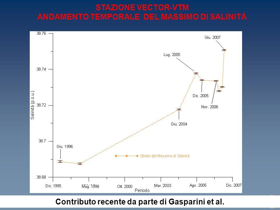 WORKSHOP W10 Progetto VECTOR (Rimini, 10-11 settembre 2007) STAZIONE VECTOR-VTM ANDAMENTO TEMPORALE DEL MASSIMO DI SALINITÀ Contributo recente da parte di Gasparini et al.