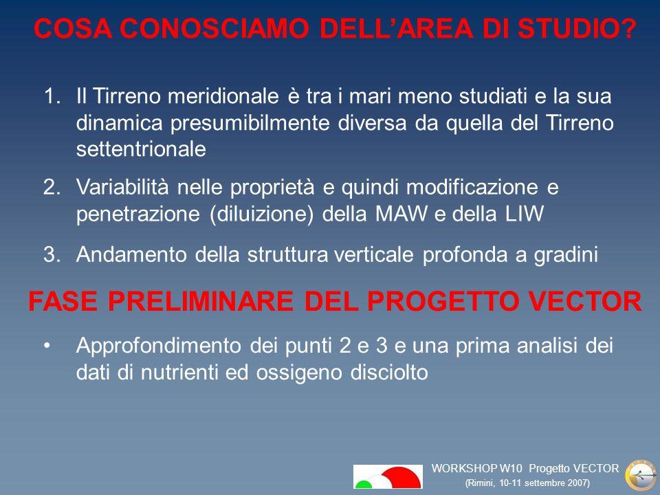 WORKSHOP W10 Progetto VECTOR (Rimini, 10-11 settembre 2007) COSA CONOSCIAMO DELLAREA DI STUDIO.