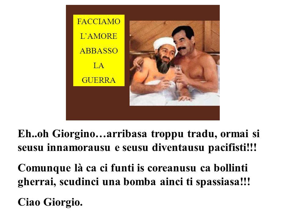 FACCIAMO LAMORE ABBASSO LA GUERRA Eh..oh Giorgino…arribasa troppu tradu, ormai si seusu innamorausu e seusu diventausu pacifisti!!.