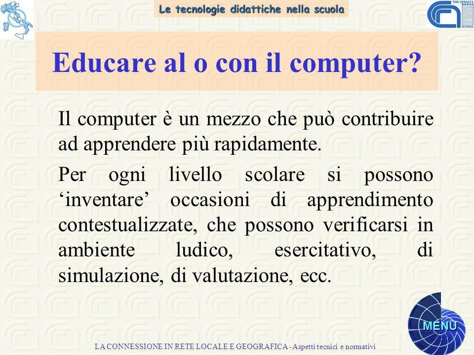 Le tecnologie didattiche nella scuola MENU LA CONNESSIONE IN RETE LOCALE E GEOGRAFICA - Aspetti tecnici e normativi Il computer è un mezzo che può contribuire ad apprendere più rapidamente.