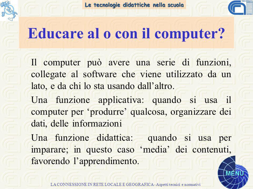 Le tecnologie didattiche nella scuola MENU LA CONNESSIONE IN RETE LOCALE E GEOGRAFICA - Aspetti tecnici e normativi Il computer può avere una serie di funzioni, collegate al software che viene utilizzato da un lato, e da chi lo sta usando dallaltro.