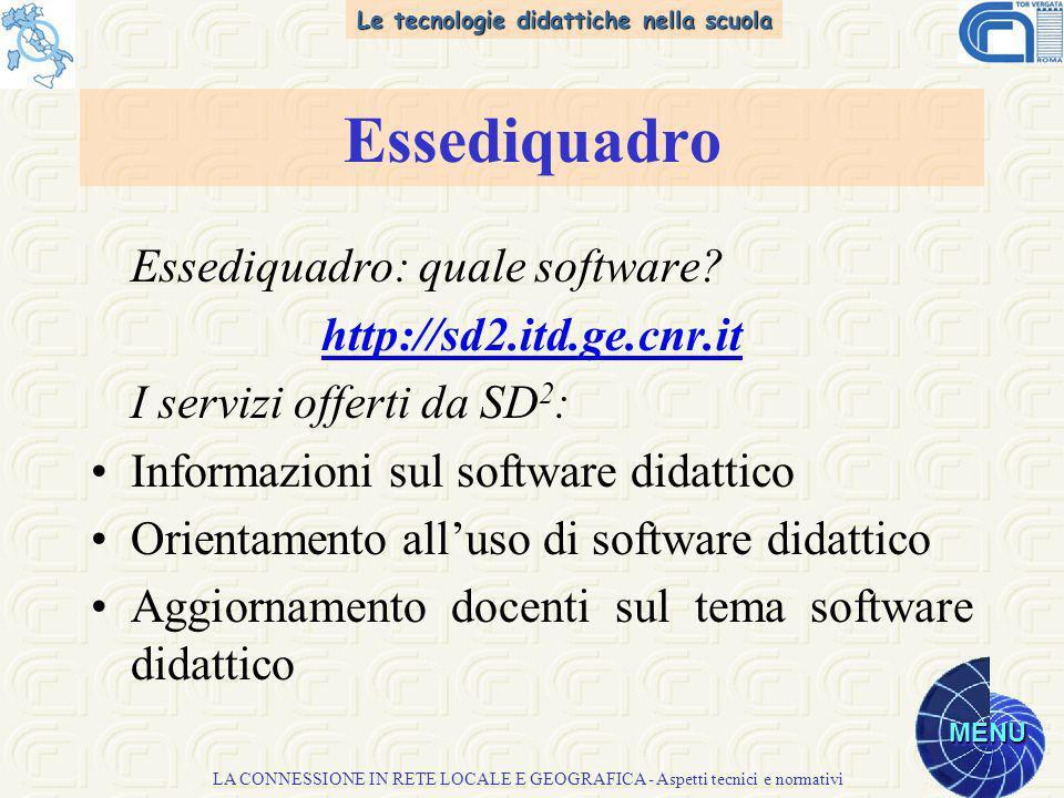 Le tecnologie didattiche nella scuola MENU LA CONNESSIONE IN RETE LOCALE E GEOGRAFICA - Aspetti tecnici e normativi Essediquadro Essediquadro: quale software.