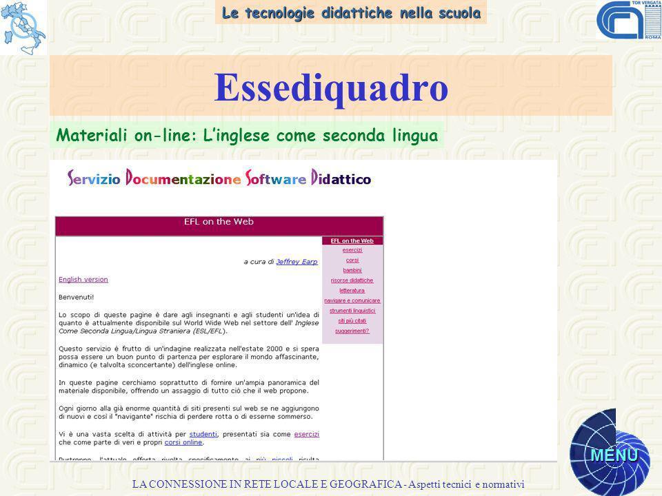 Le tecnologie didattiche nella scuola MENU LA CONNESSIONE IN RETE LOCALE E GEOGRAFICA - Aspetti tecnici e normativi Essediquadro Materiali on-line: Linglese come seconda lingua