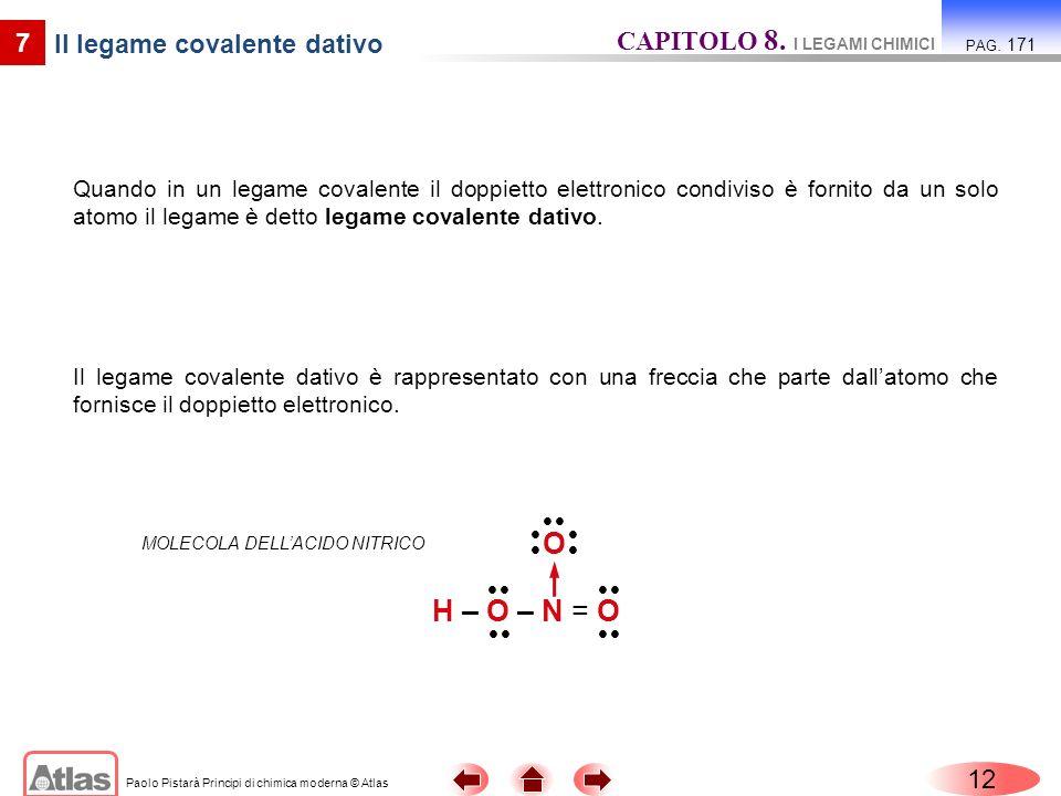 Paolo Pistarà Principi di chimica moderna © Atlas 12 7 Il legame covalente dativo Quando in un legame covalente il doppietto elettronico condiviso è fornito da un solo atomo il legame è detto legame covalente dativo.
