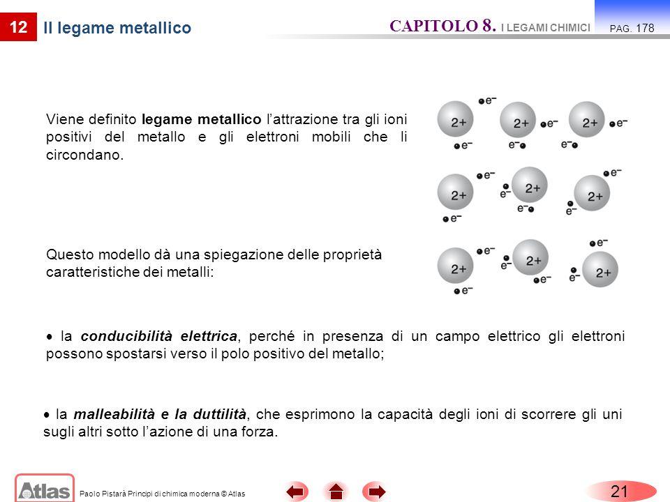 Paolo Pistarà Principi di chimica moderna © Atlas 21 12 Il legame metallico Viene definito legame metallico lattrazione tra gli ioni positivi del metallo e gli elettroni mobili che li circondano.