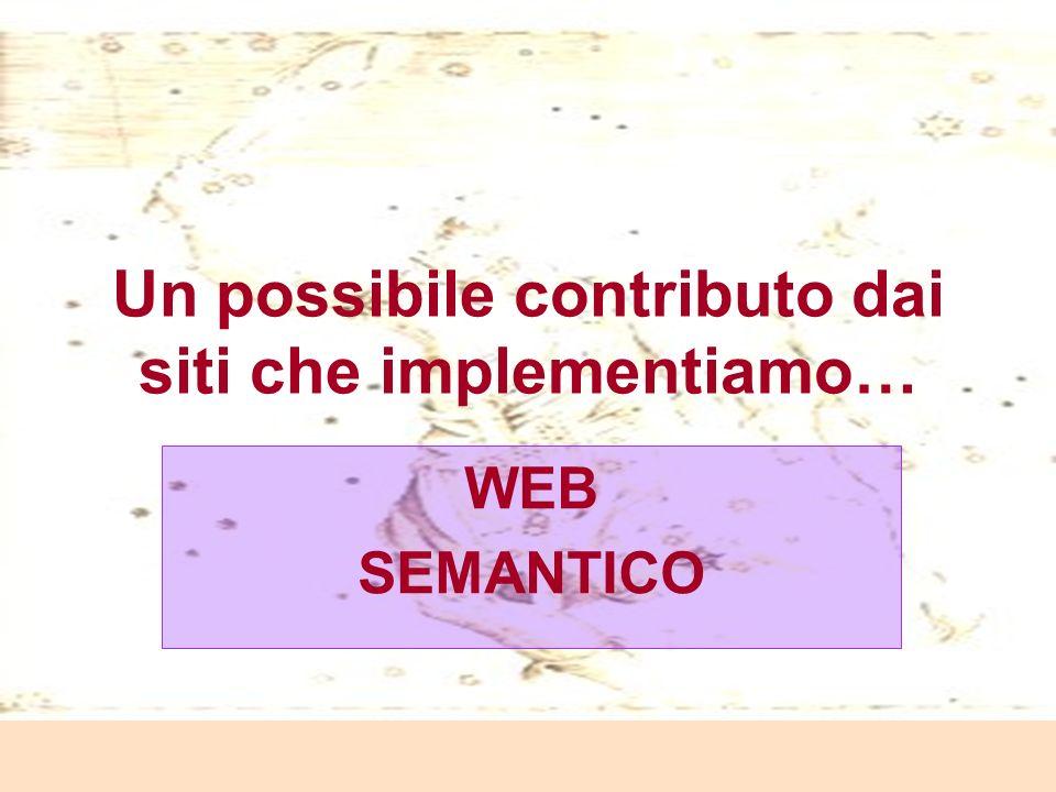 Laura Antichi Un possibile contributo dai siti che implementiamo… WEB SEMANTICO
