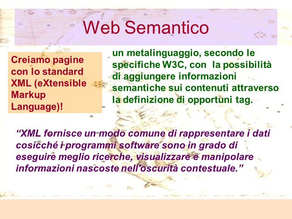 Laura Antichi Web Semantico Creiamo pagine con lo standard XML (eXtensible Markup Language).