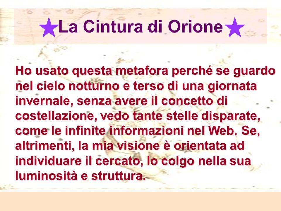 Laura Antichi La Cintura di Orione Ho usato questa metafora perché se guardo nel cielo notturno e terso di una giornata invernale, senza avere il concetto di costellazione, vedo tante stelle disparate, come le infinite informazioni nel Web.