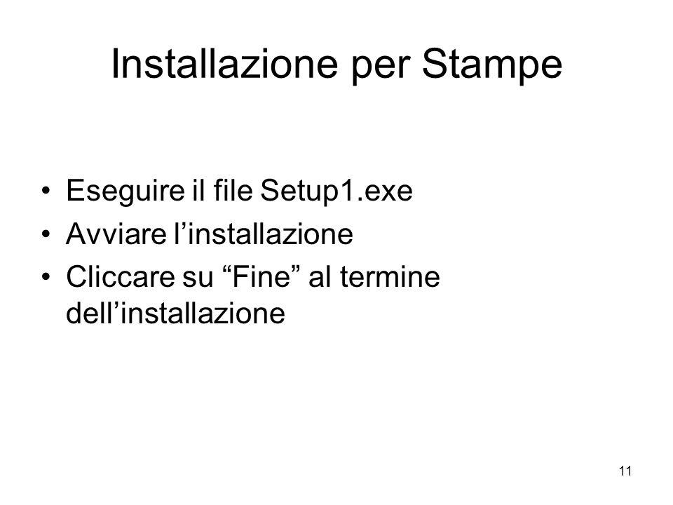 11 Installazione per Stampe Eseguire il file Setup1.exe Avviare linstallazione Cliccare su Fine al termine dellinstallazione