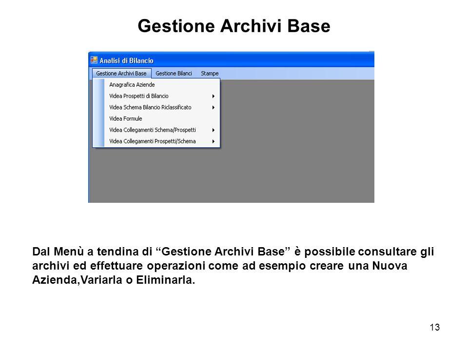 13 Gestione Archivi Base Dal Menù a tendina di Gestione Archivi Base è possibile consultare gli archivi ed effettuare operazioni come ad esempio creare una Nuova Azienda,Variarla o Eliminarla.