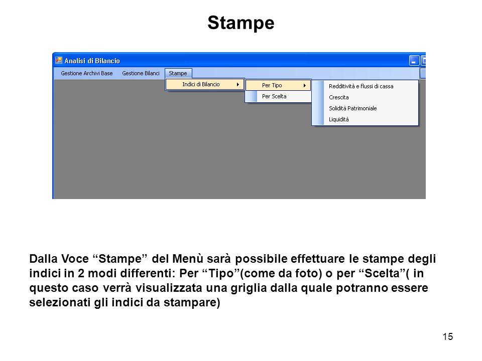 15 Stampe Dalla Voce Stampe del Menù sarà possibile effettuare le stampe degli indici in 2 modi differenti: Per Tipo(come da foto) o per Scelta( in questo caso verrà visualizzata una griglia dalla quale potranno essere selezionati gli indici da stampare)