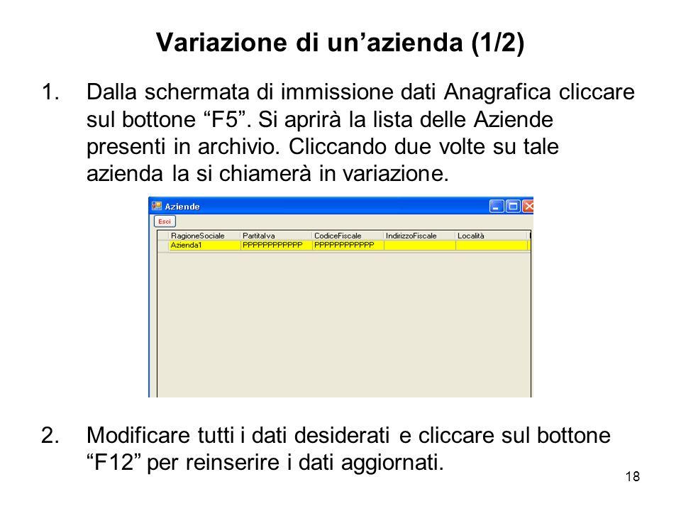 18 Variazione di unazienda (1/2) 1.Dalla schermata di immissione dati Anagrafica cliccare sul bottone F5.