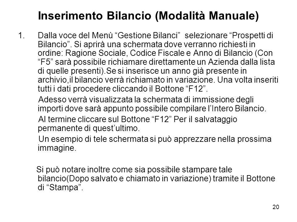 20 Inserimento Bilancio (Modalità Manuale) 1.Dalla voce del Menù Gestione Bilanci selezionare Prospetti di Bilancio.