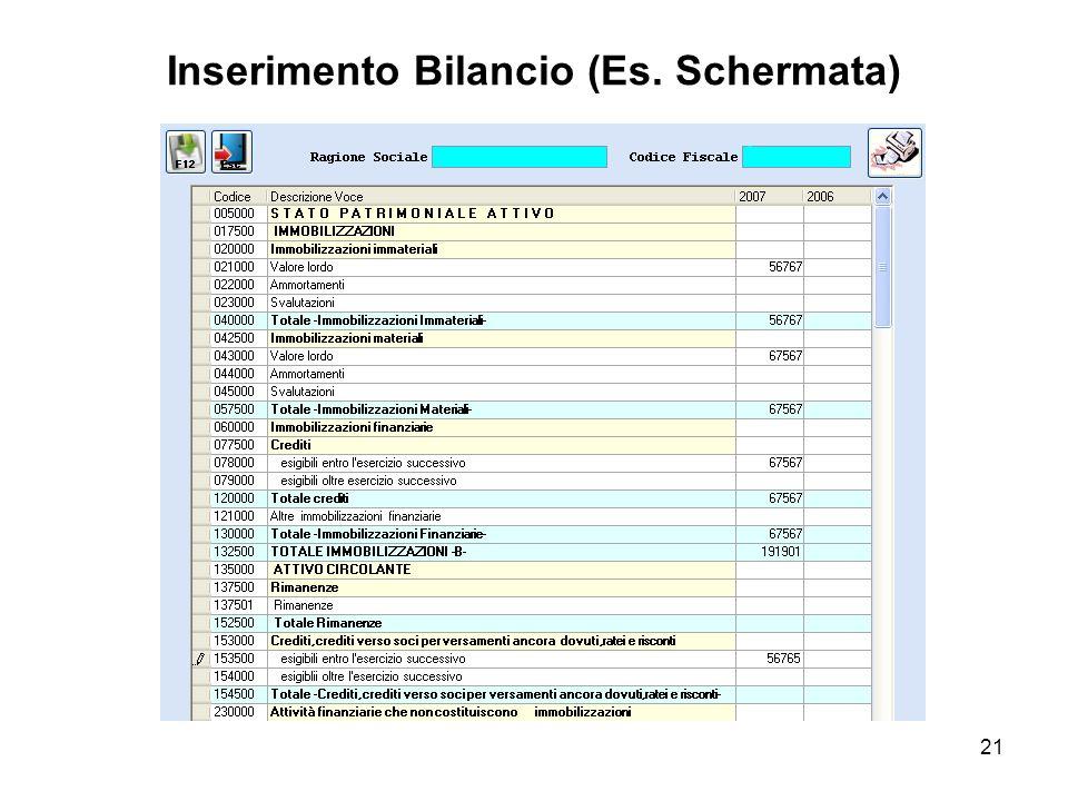 21 Inserimento Bilancio (Es. Schermata)